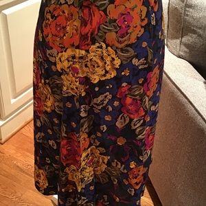 Brilliant colored floral handmade vintage skirt